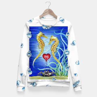 Thumbnail image of Two Seahorses in Love Fitted Waist Sweater, Live Heroes