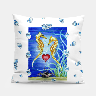 Thumbnail image of Two Seahorses in Love Pillow, Live Heroes