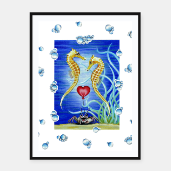 Thumbnail image of Two Seahorses in Love Framed poster, Live Heroes