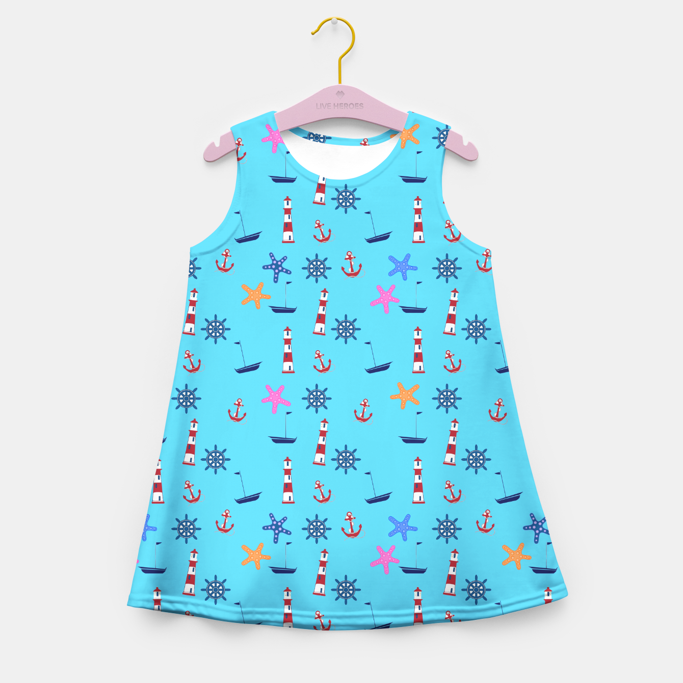 Image of Nautical Beach Pattern on Blue  Girl's Summer Dress - Live Heroes