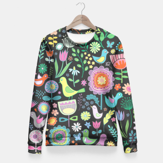 Miniaturka Birds & Blooms - Pastels on Charcoal Fitted Waist Sweater, Live Heroes
