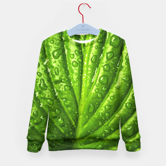 Miniatur Green Wet Leaf Kid's Sweater, Live Heroes