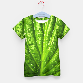 Miniatur Green Wet Leaf Kid's T-shirt, Live Heroes