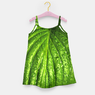 Miniatur Green Wet Leaf Girl's Dress, Live Heroes
