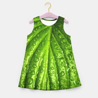 Miniatur Green Wet Leaf Girl's Summer Dress, Live Heroes