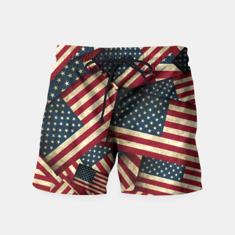 Patriotic Grunge-Style USA American Flags Swim Shorts thumbnail image