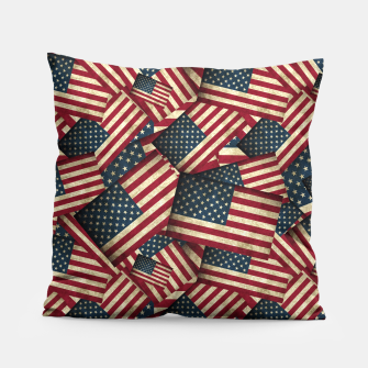 Patriotic Grunge-Style USA American Flags Pillow thumbnail image
