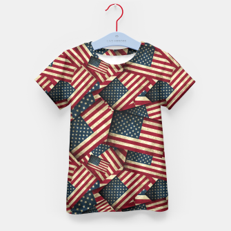 Patriotic Grunge-Style USA American Flags Kid's T-shirt thumbnail image