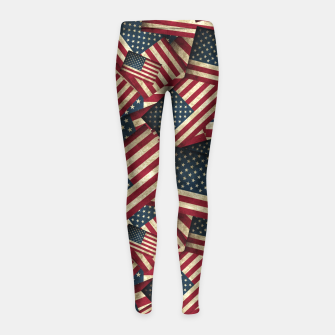 Patriotic Grunge-Style USA American Flags Girl's Leggings thumbnail image