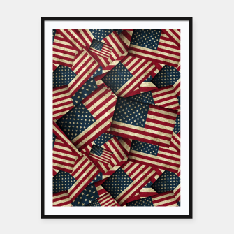 Patriotic Grunge-Style USA American Flags Framed poster thumbnail image