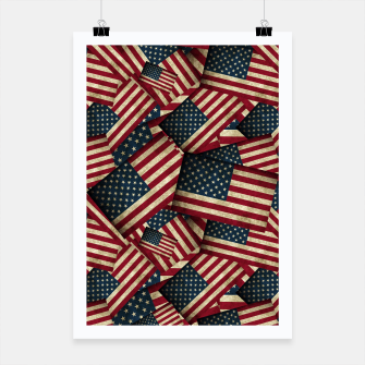 Patriotic Grunge-Style USA American Flags Poster thumbnail image