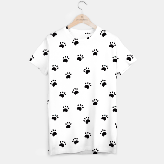 Miniaturka Black and White Dog Paws T-Shirt, Live Heroes