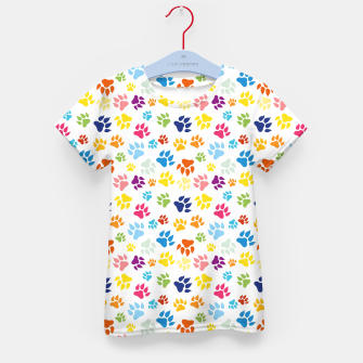 Thumbnail image of Colorful Dog Paws T-Shirt für Kinder, Live Heroes