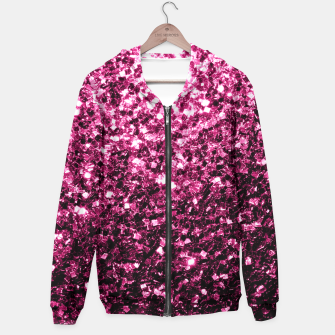 Miniaturka Beautiful Dark Pink glitter sparkles Cotton zip up hoodie, Live Heroes
