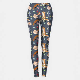 Thumbnail image of Fox and flowers Leggings, Live Heroes
