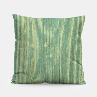 Thumbnail image of Rustic green weathered wood Pillow, Live Heroes