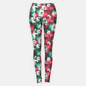 Thumbnail image of Grunge-Style Mexican Flag  Leggings, Live Heroes