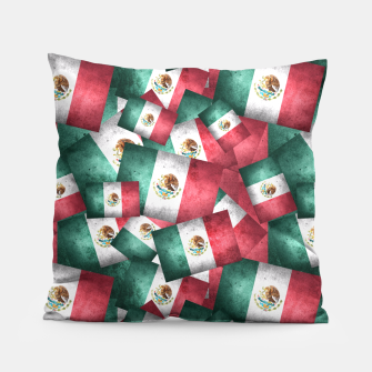 Thumbnail image of Grunge-Style Mexican Flag  Pillow, Live Heroes