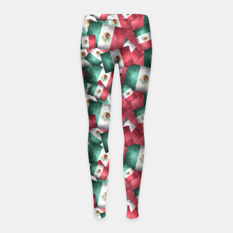 Thumbnail image of Grunge-Style Mexican Flag  Girl's Leggings, Live Heroes