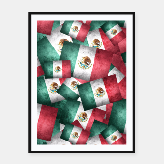 Thumbnail image of Grunge-Style Mexican Flag  Framed poster, Live Heroes