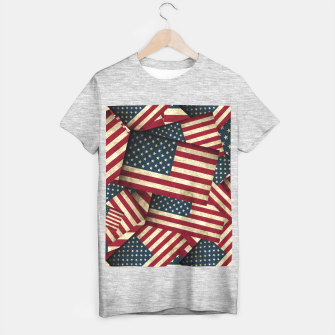 Thumbnail image of Patriotic Grunge-Style USA American Flags T-shirt regular, Live Heroes