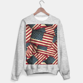 Thumbnail image of Patriotic Grunge-Style USA American Flags Sweater regular, Live Heroes