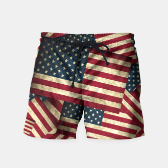 Thumbnail image of Patriotic Grunge-Style USA American Flags Swim Shorts, Live Heroes