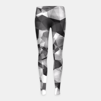 Miniaturka contemporary geometric polygon abstract pattern in black and white Girl's Leggings, Live Heroes