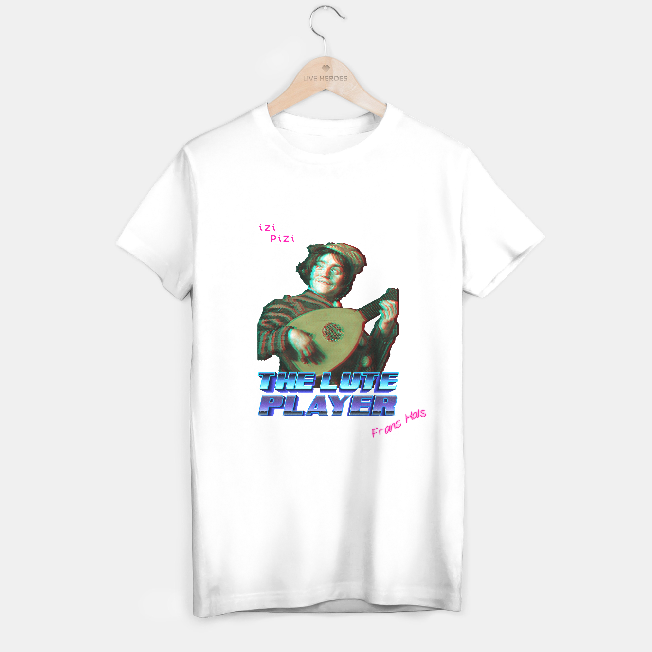 Image of THE RETRO LUTE PLAYER WHiTE T-shirt regular - Live Heroes