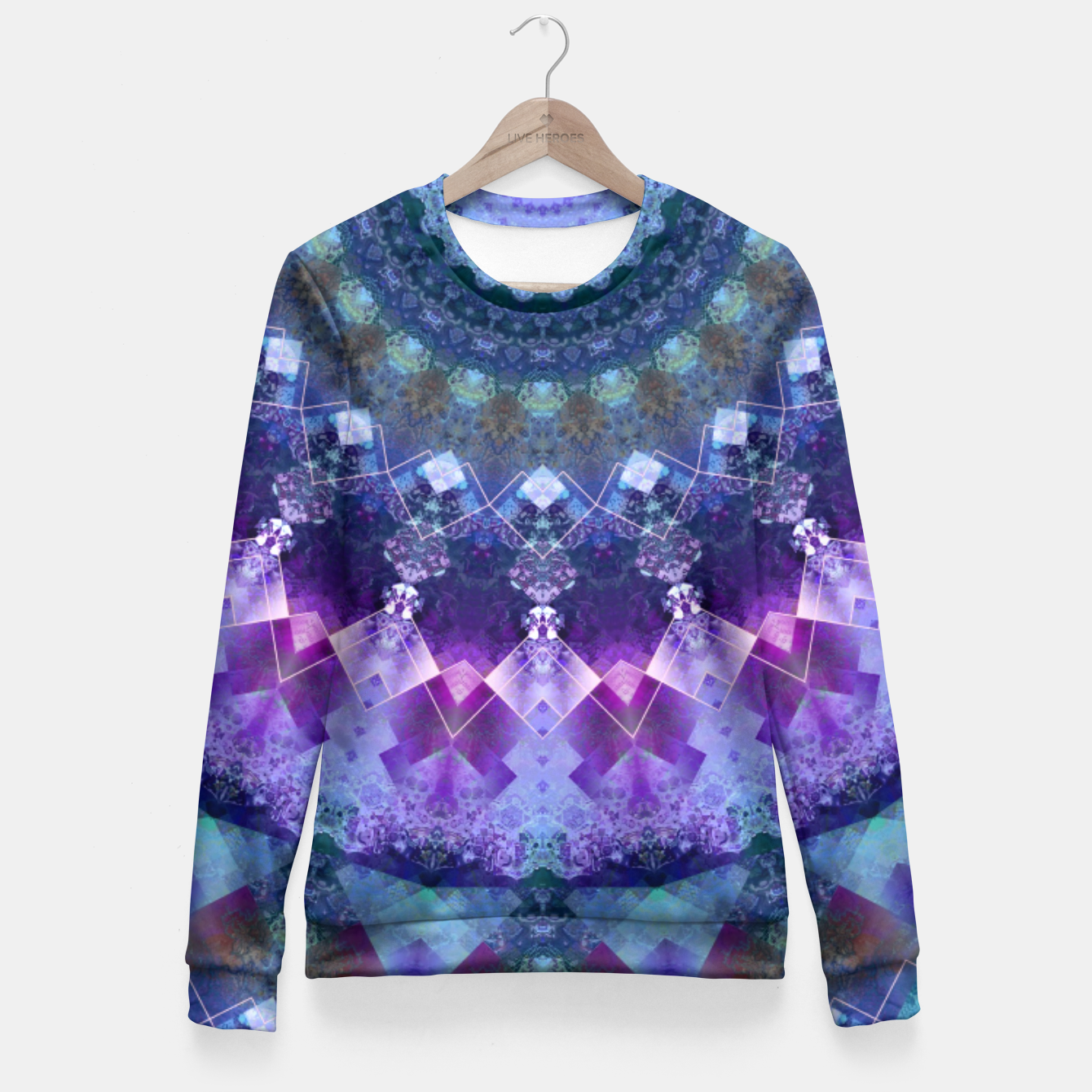 Image of Regal Blue and Purple Kaleidoscope Half  Fitted Waist Sweater - Live Heroes