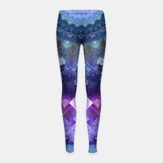 Regal Blue and Purple Kaleidoscope Half  Girl's Leggings thumbnail image