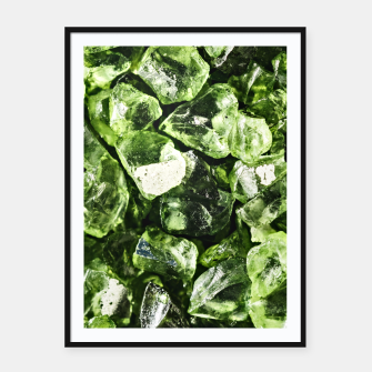 Thumbnail image of Vibrant greenery crystal rocks Framed poster, Live Heroes