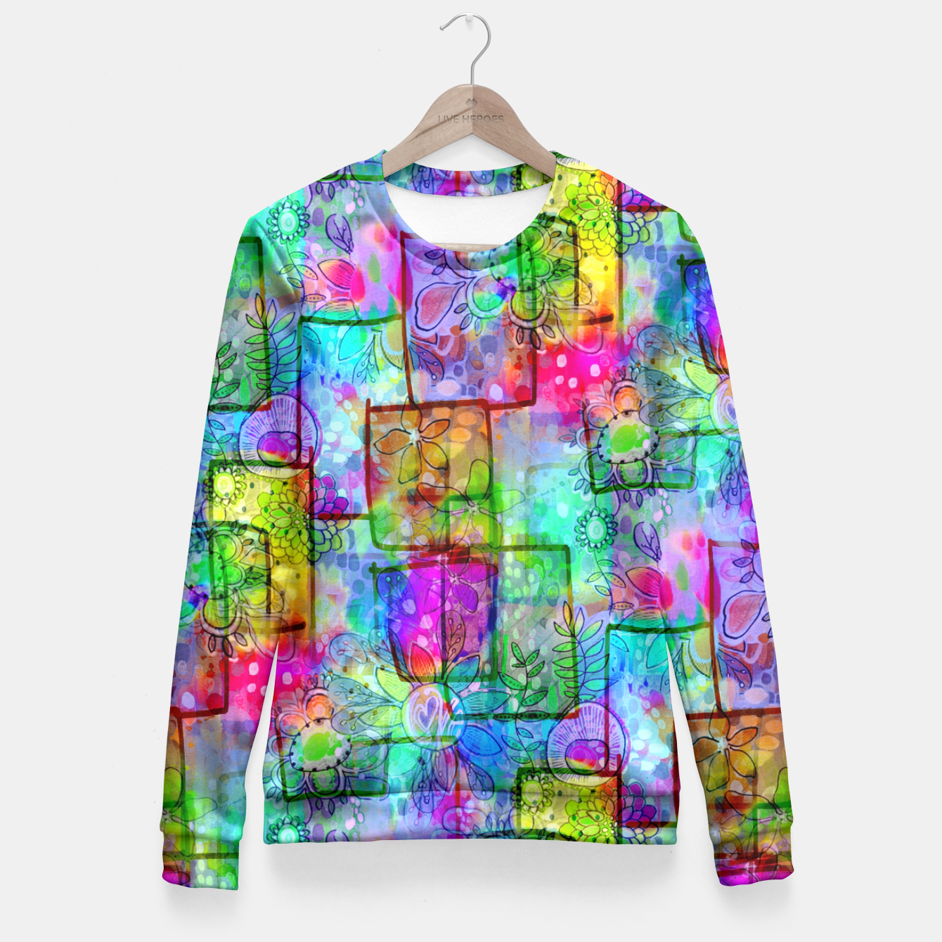 Image of Rainbow Floral Doodle Fitted Waist Sweater - Live Heroes