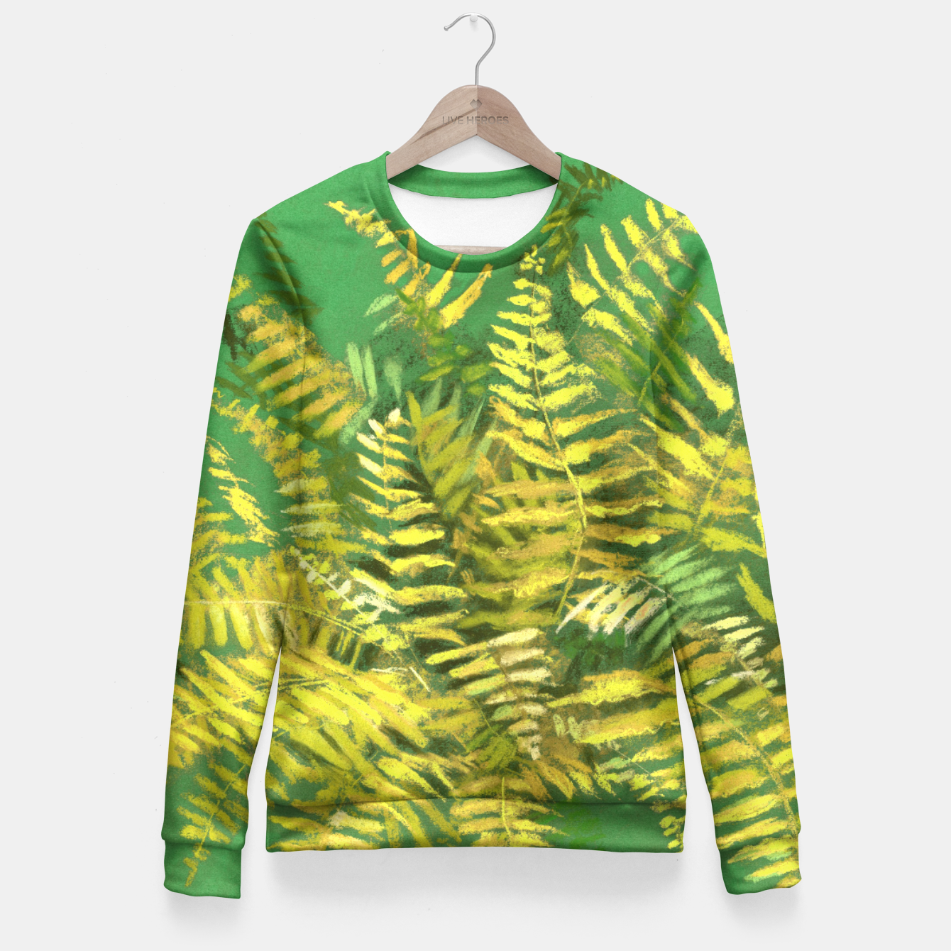 Image of Golden Fern, green & yellow Fitted Waist Sweater - Live Heroes