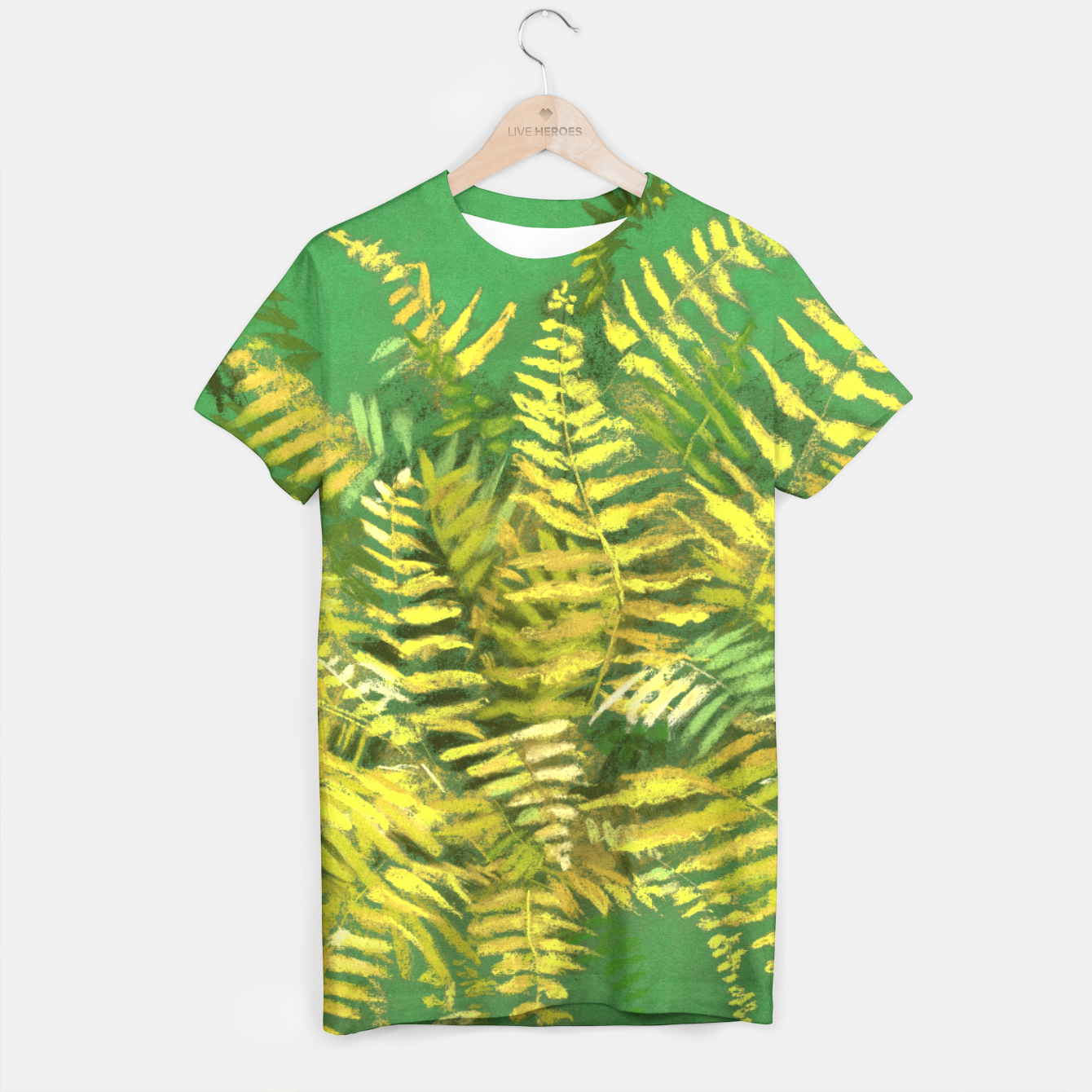 Image of Golden Fern, green & yellow T-shirt - Live Heroes