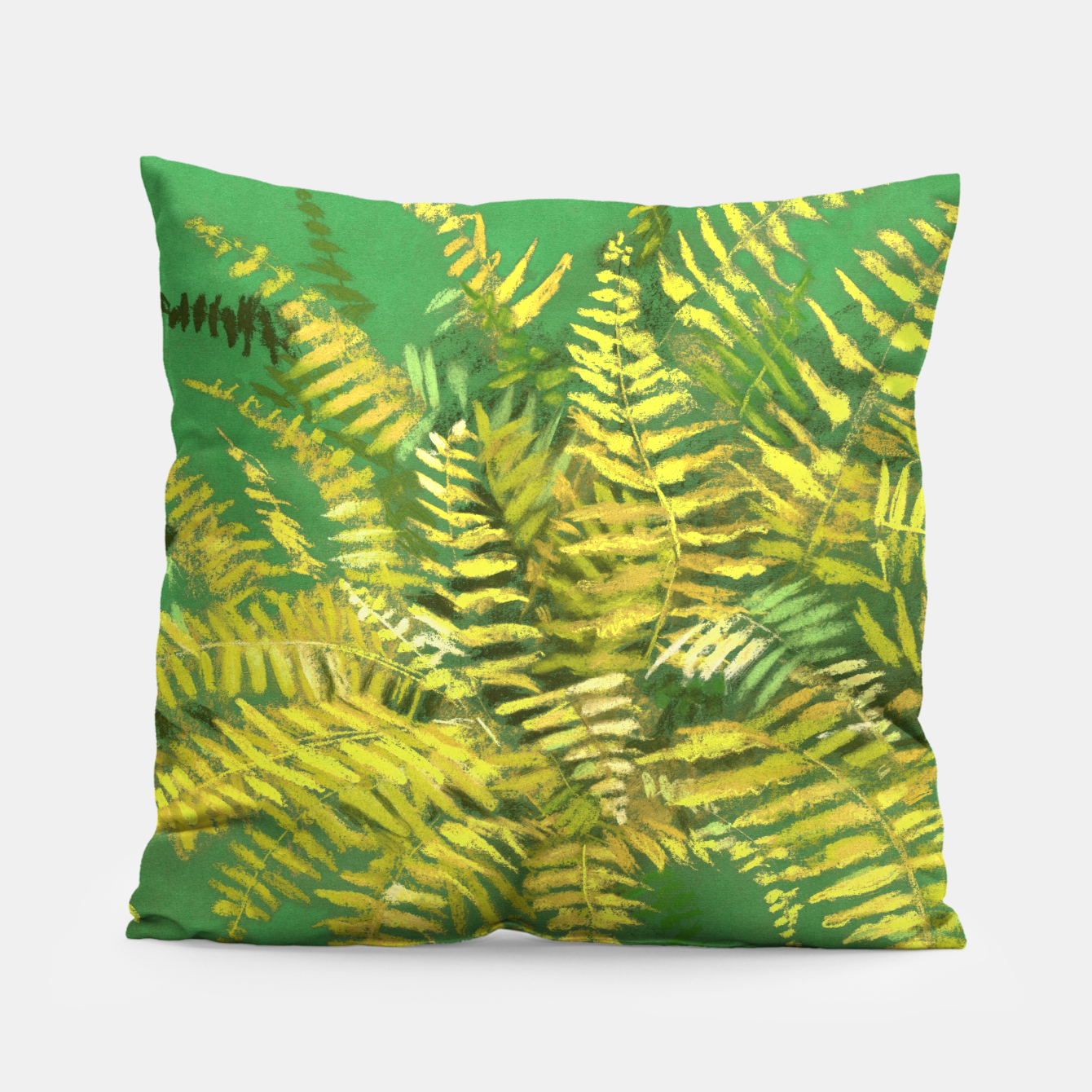 Image of Golden Fern, green & yellow Pillow - Live Heroes