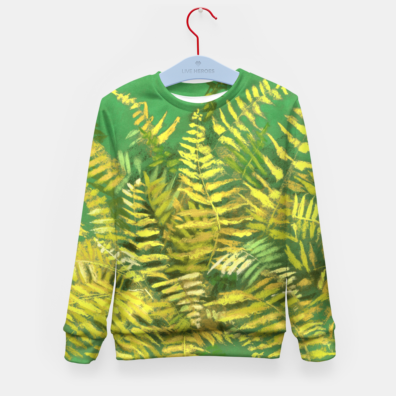 Image of Golden Fern, green & yellow Kid's Sweater - Live Heroes