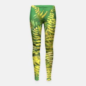 Golden Fern, green & yellow Girl's Leggings thumbnail image