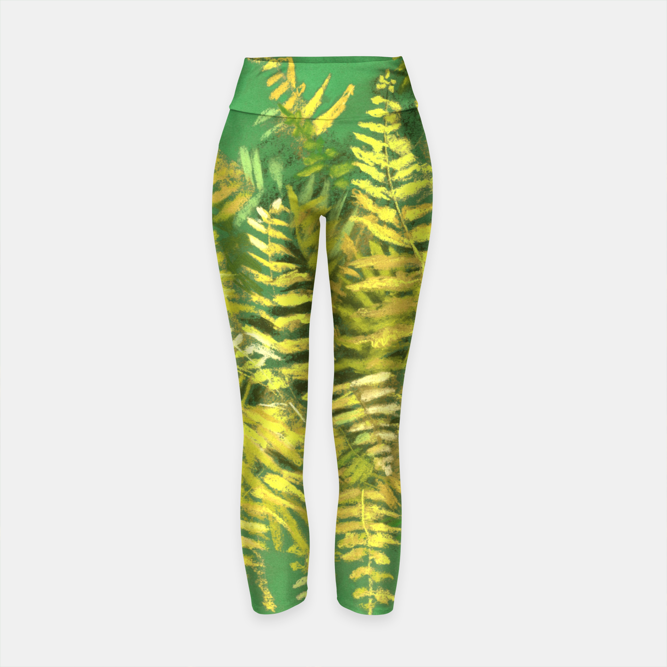 Image of Golden Fern, green & yellow Yoga Pants - Live Heroes
