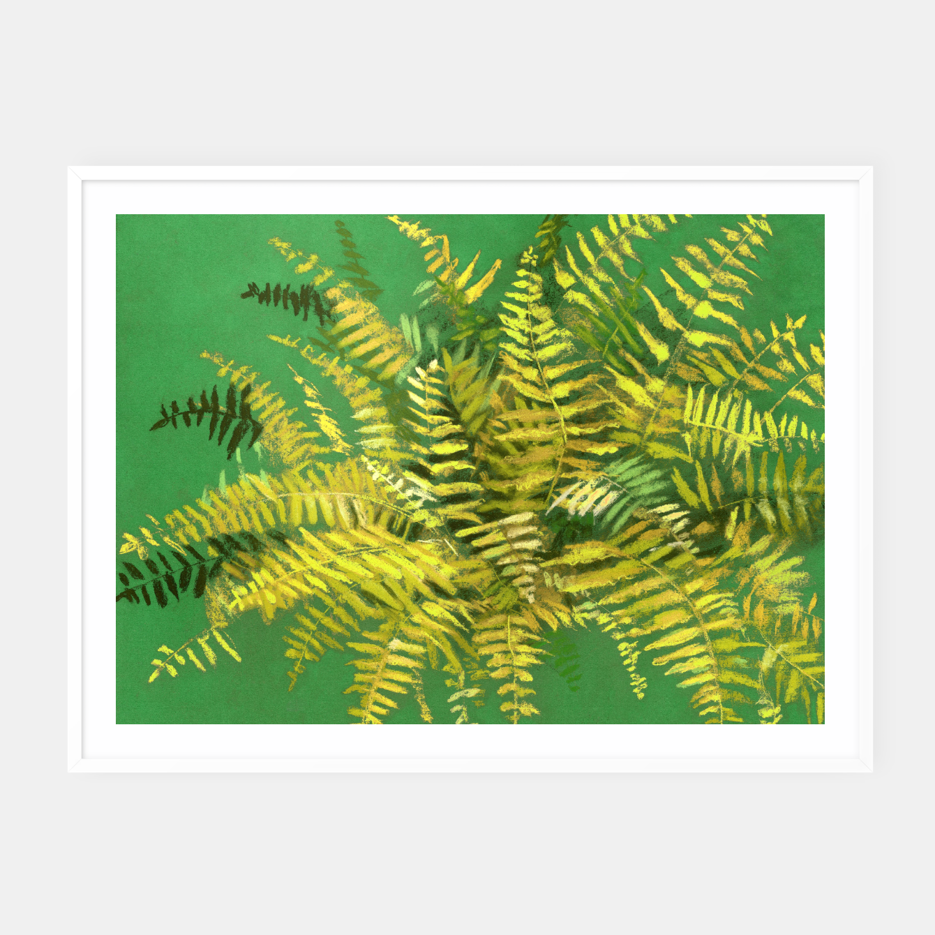 Image of Golden Fern, green & yellow Framed poster - Live Heroes