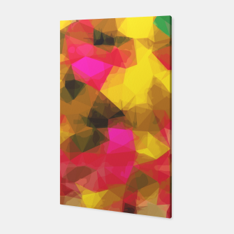 psychedelic geometric polygon shape pattern abstract in pink yellow green Canvas Bild der Miniatur