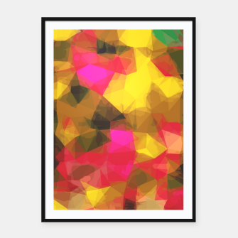 psychedelic geometric polygon shape pattern abstract in pink yellow green Framed poster Bild der Miniatur