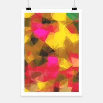psychedelic geometric polygon shape pattern abstract in pink yellow green Poster Bild der Miniatur