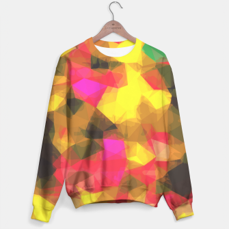 psychedelic geometric polygon shape pattern abstract in pink yellow green Sweater Bild der Miniatur