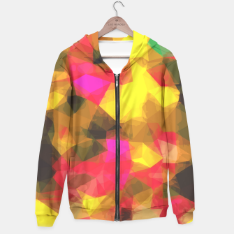 psychedelic geometric polygon shape pattern abstract in pink yellow green Hoodie Bild der Miniatur