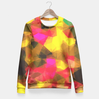 psychedelic geometric polygon shape pattern abstract in pink yellow green Fitted Waist Sweater Bild der Miniatur