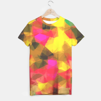 psychedelic geometric polygon shape pattern abstract in pink yellow green T-shirt Bild der Miniatur
