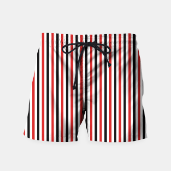 Miniatur Red and Black Stripes Swim Shorts, Live Heroes