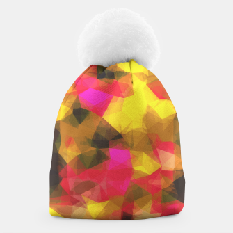 psychedelic geometric polygon shape pattern abstract in pink yellow green Beanie Bild der Miniatur