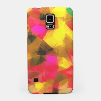 psychedelic geometric polygon shape pattern abstract in pink yellow green Samsung Case Bild der Miniatur
